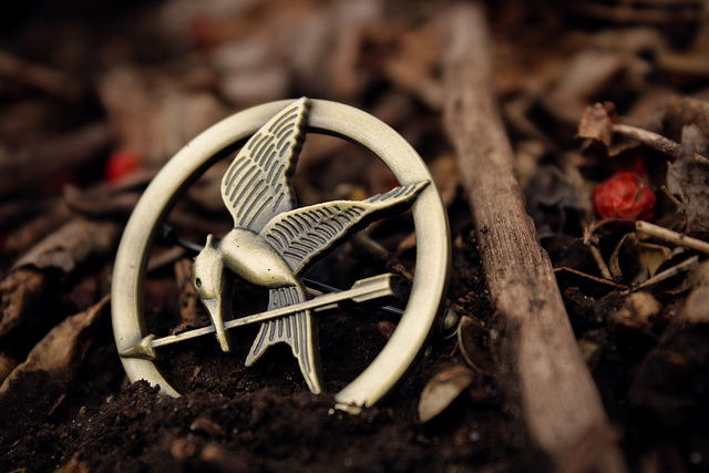 "Photo of a Mockingjay pin from the movie, ""Hunger Games"" for a blog post on Young Adult Fiction by Literative.com."