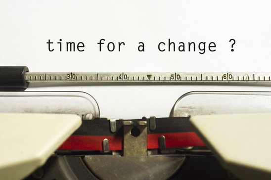 "A photo of a typewriter which has written, ""time for a change"" for a post on Creating a Character Arc"