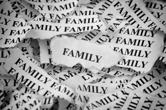 Photo of the word family typed on several pieces of paper that have been torn.