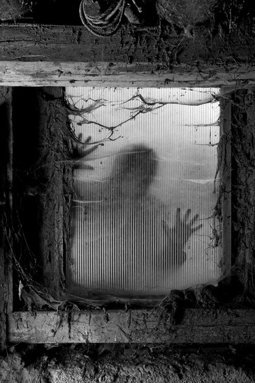 Photo of a zombie outside a window that is covered with spiderwebs and filth.