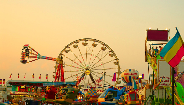 An image of a County Fair at dusk