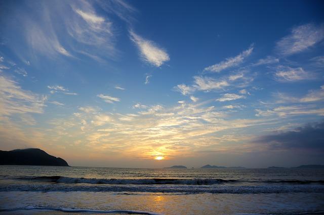 Photo of a sun setting over a beach.